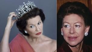 Stephanie Beacham as Princess Margaret (left), next to a picture of the Princess from 1993