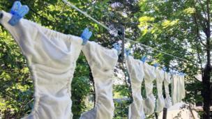 Cloth nappies on a line