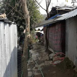 Makeshift accomodation for the Rohingyas on the outskirts of Nepal