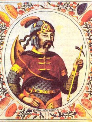 "Князь Рюрик: миниатюра неизвестного автора из ""Царского титулярника"" XVII века"