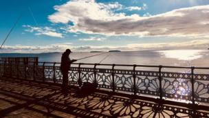 Fishing on Penarth Pier
