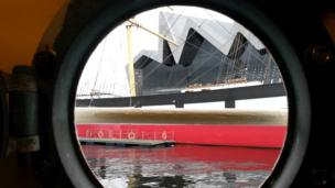 SS Glenlee at the Riverside Museum in Glasgow, through porthole on PS Waverly