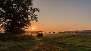 A sunrise over a farmer's field in Vale of Glamorgan