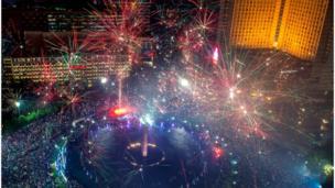 Tahun baru, kembang api, Jakarta, Indonesia