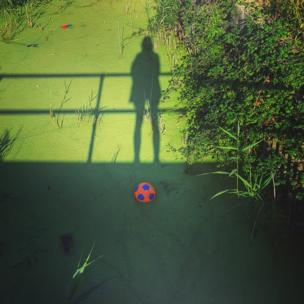 A ball floating in a pond