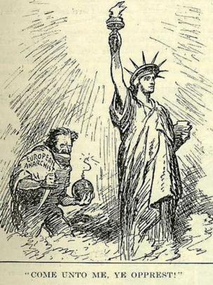 Карикатура: европейский анархизм хочет убить американскую свободу (1919 год)