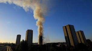 The A40 - a major route in and out of London - was closed both ways as rush hour began with smoke continuing to pour out of the building