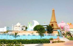 Villas in the resort resemble famous buildings