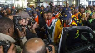 Caster Semenya at a welcoming ceremony at OR Tambo International Airport in Johannesburg