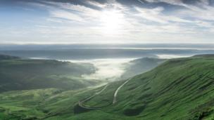 Cwmparc and Treorchy hidden under a blanket of mist