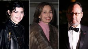 出席晚宴的包括(从左至右)法国演员奥黛丽·塔图、英国演员克莉斯汀·斯考特·汤玛斯女爵士、法国演员让·雷诺。