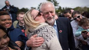 Labour leader Jeremy Corbyn is busted by a supporta at a rally up in Harlow, Essex.