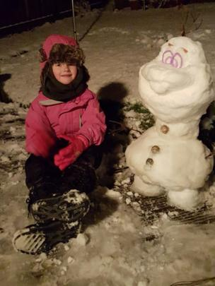 Apryl and Olaf the snowman