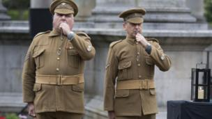 Two 'Tommies' with whistles at Cardiff ceremony
