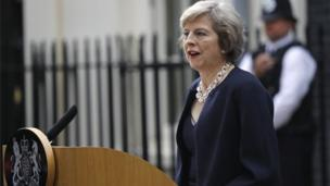 Mrs May spoke to the media for the first time as prime minister as she arrived at her official residence at 10 Downing Street
