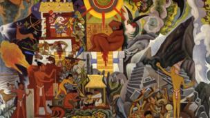 """""""América prehispánica"""", óleo sobre lienzo, Diego Rivera, 1950"""