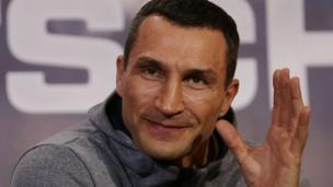 Ukraine's Wladimir Klitschko speaks during a joint press conference with Britain's Anthony Joshua at Sky broadcasting headquarters in west London on April 27, 2017 ahead of their IBF, IBO and WBA Super, world Heavyweight title fight at Wembley Stadium