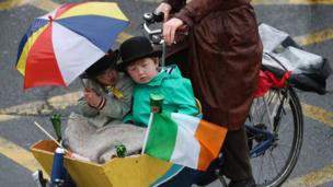 Keeping warm and dry was the main concern for some at the Dublin parade