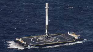 A Falcon 9 rockets makes a successful landing on the drone-ship Of Course I Still Love You, in April 2016