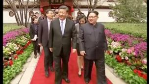કિમ જોંગ ઉનની ચીનની મુલાકાત દરમિયાન.