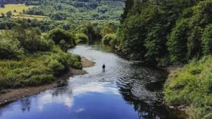 Fisherman in the River Usk