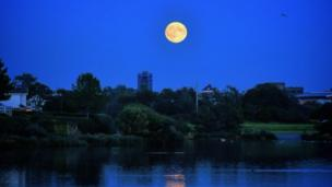 The supermoon over Llanelli