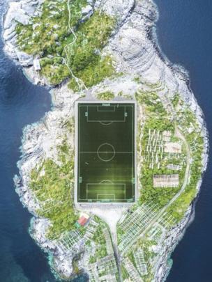 This football field in Henningsvaer in the Lofoten Islands