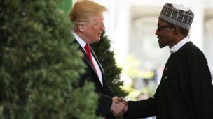 Shugaba Trump na shugaba Muhammadu Buhari na gaisawa
