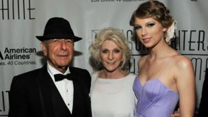 Leonard Cohen, Judy Collins and Taylor Swift meet at the 41st Annual Songwriters Hall of Fame Ceremony at The New York Marriott Marquis on June 17, 2010 in New York City