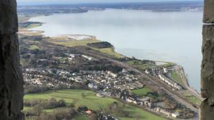 View from high above Llanfairfechan in Conwy county