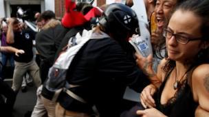 Far-right and counter protesters clash in Charlottesville, Virginia