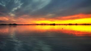 Sunset over Farmoor Reservoir