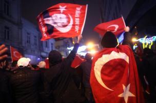 متظاهرون مؤيدون للرئيس التركي رجب طيب أردوغان