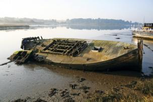 A tipped over boat