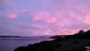 Sunset looking over the Milford Haven Waterway
