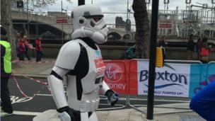 Runner dressed as a Stormtrooper