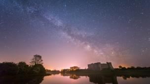 The Milky Way over Carew Castle, Pembrokeshire