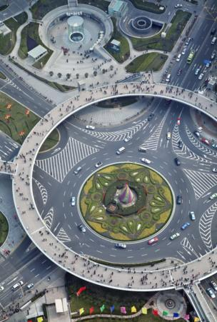 Ariel view of an interchange in Shanghai, China
