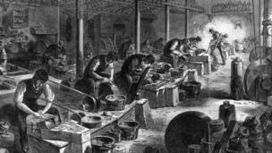 Ilustração de fábrica britânica do século 18, na Revolução Industrial