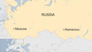 Map shows the cities of Moscow and Kemerovo in Russia
