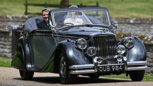 Pippa Middleton in her wedding car