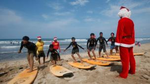 Bali, selancar, santa klaus