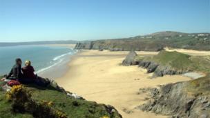 Three Cliffs beach and Oxwich Bay, Gower,