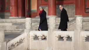 梅和丈夫在故宫