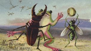 Victorian Christmas card with dancing frog and insects