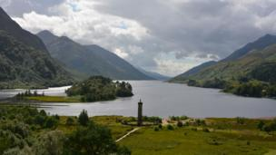 View over Loch Shiel and the monument at Glenfinnan