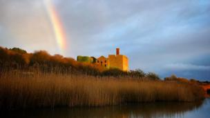 A rainbow over the old lime works at East Aberthaw