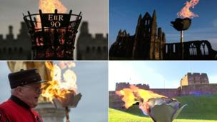 (Clockwise from top left: Beacons at Windsor, Whitby Abbey, Carlisle Castle, and the Royal Hospital Chelsea)
