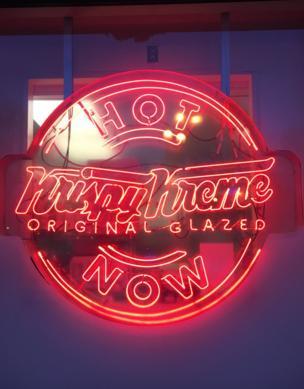 A neon Krispy Kreme sign