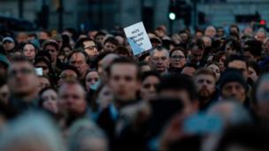 Vigil in Trafalgar Square, Thursday evening.